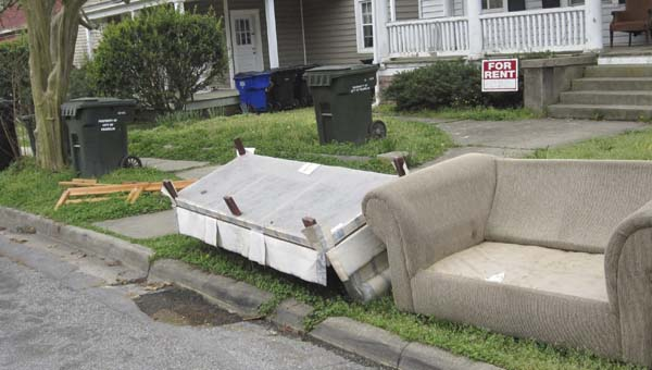 Furniture left out on a city street in Franklin. -- SUBMITTED